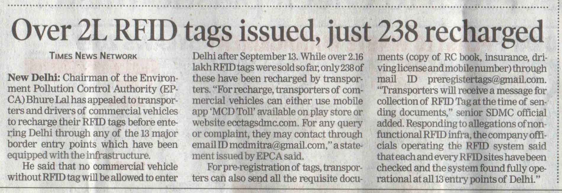 Over 2L RFIDtags issued, just 238 recharged