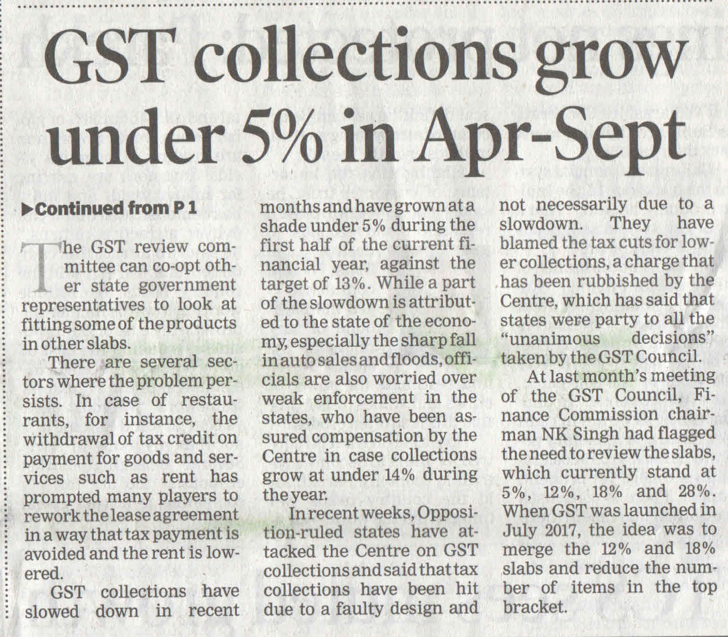 GST collection grow under 5% in Apr-Sept.