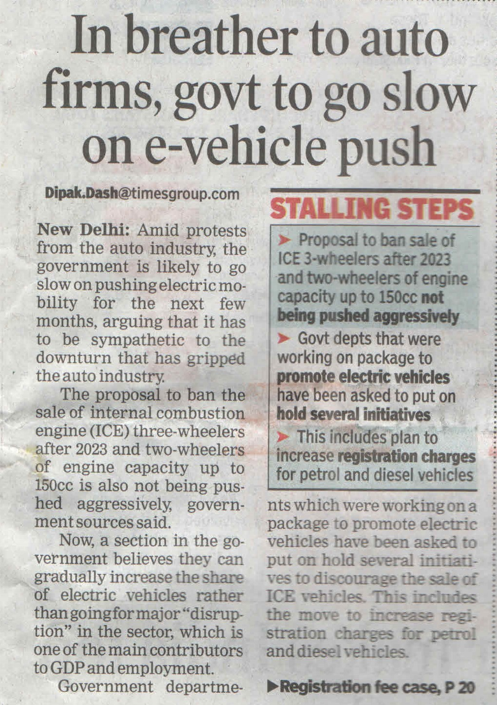 In breather to auto firms, govt to go slow on e-vehicle push