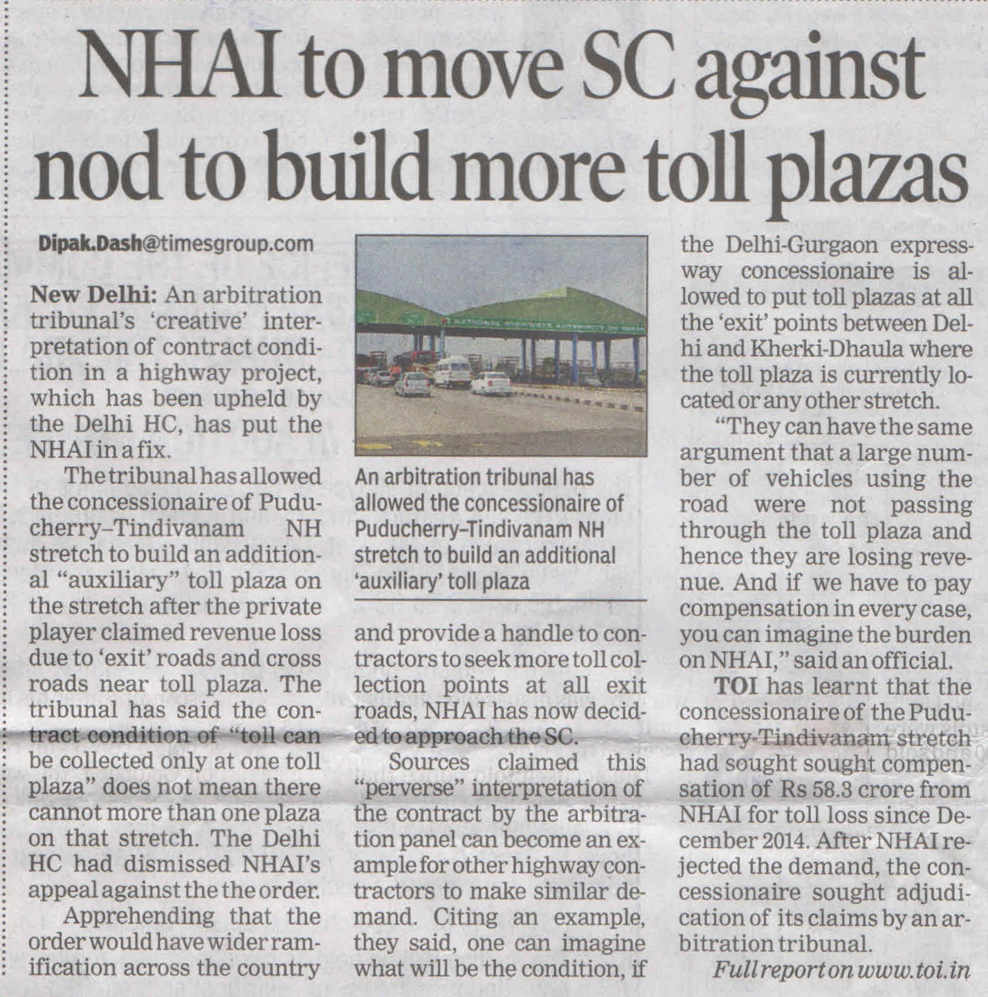 NHAI to move SC against not to build more toll plazas