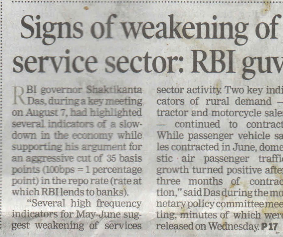 Sign of weakening of servicesector:RBI guv