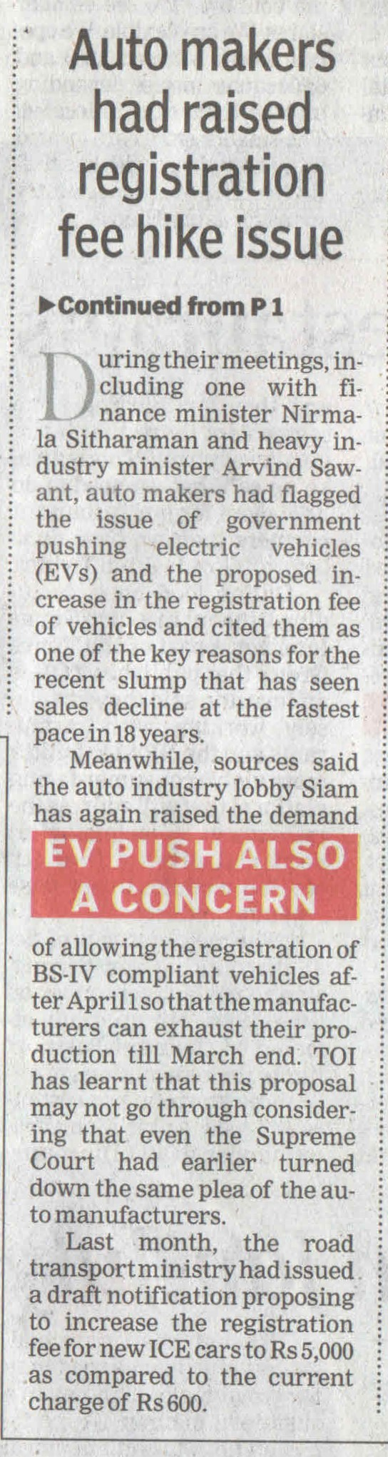 Auto makers had raised registration fee hike issue