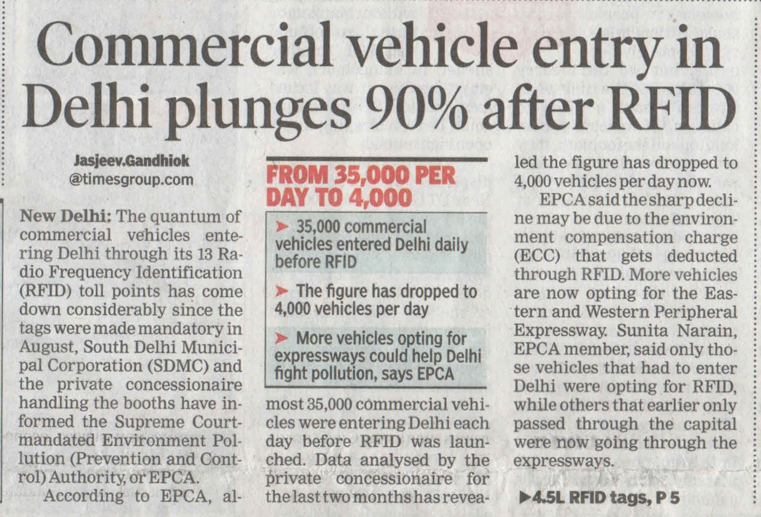 Commercial vehicles entry in Delhi plunges 90% after RFID