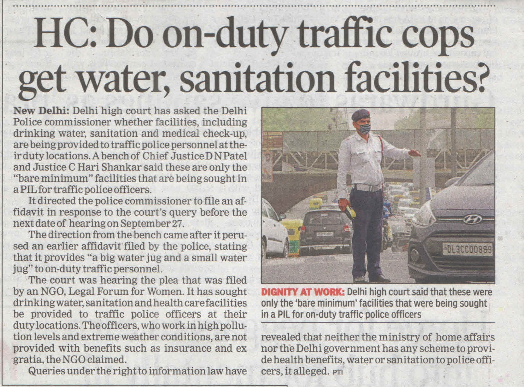 Basic facilities for Traffic Police - HC