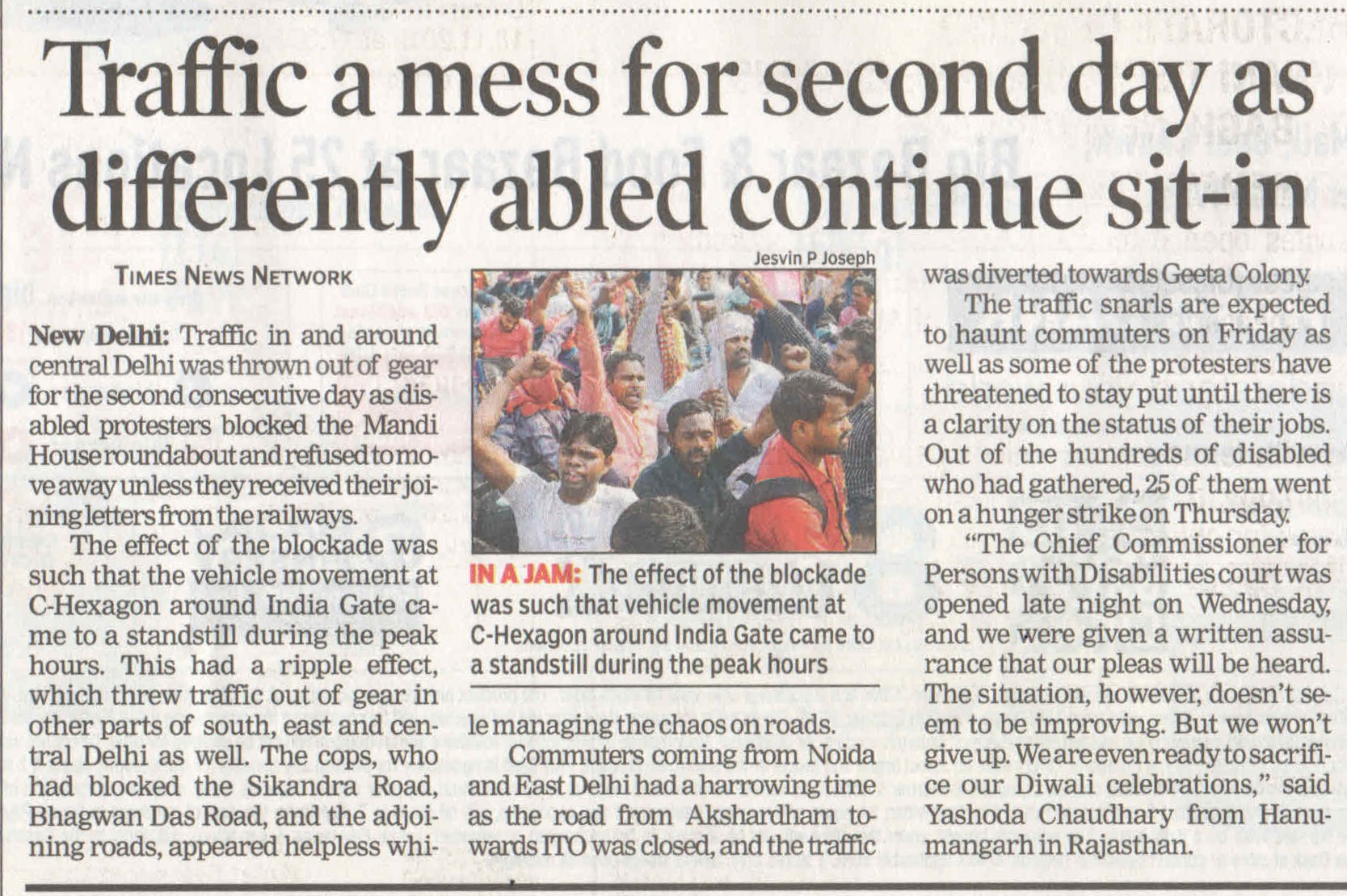 Traffic a mess for second day as differently abled continue sit-in