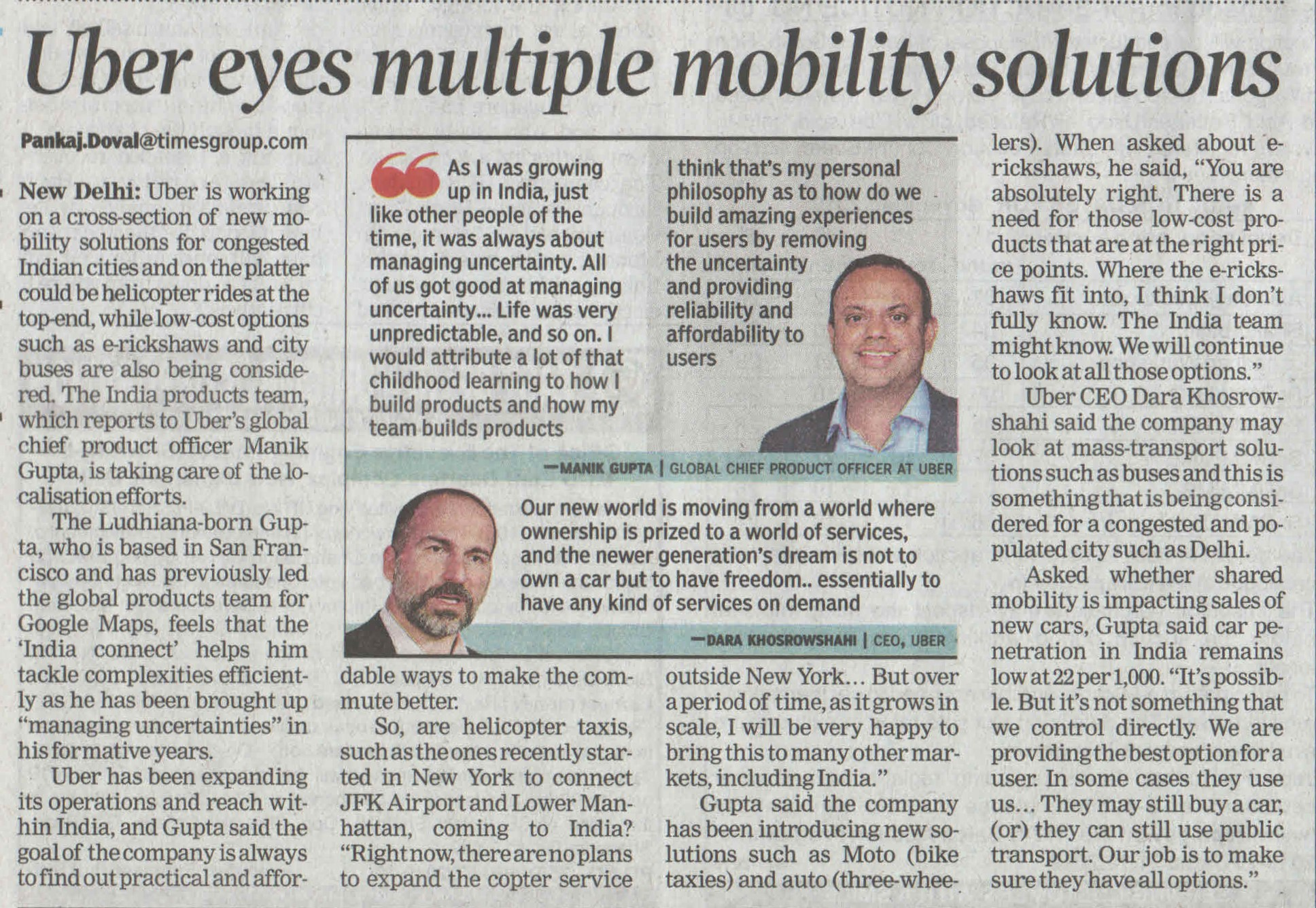 Uber eyes multiple mobility solutions