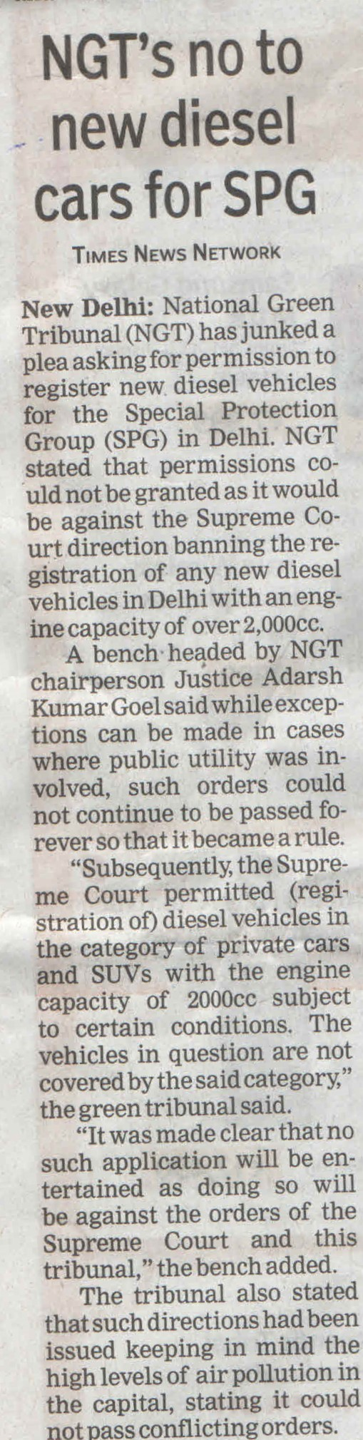 NGT's no to new diesel cars for SPG