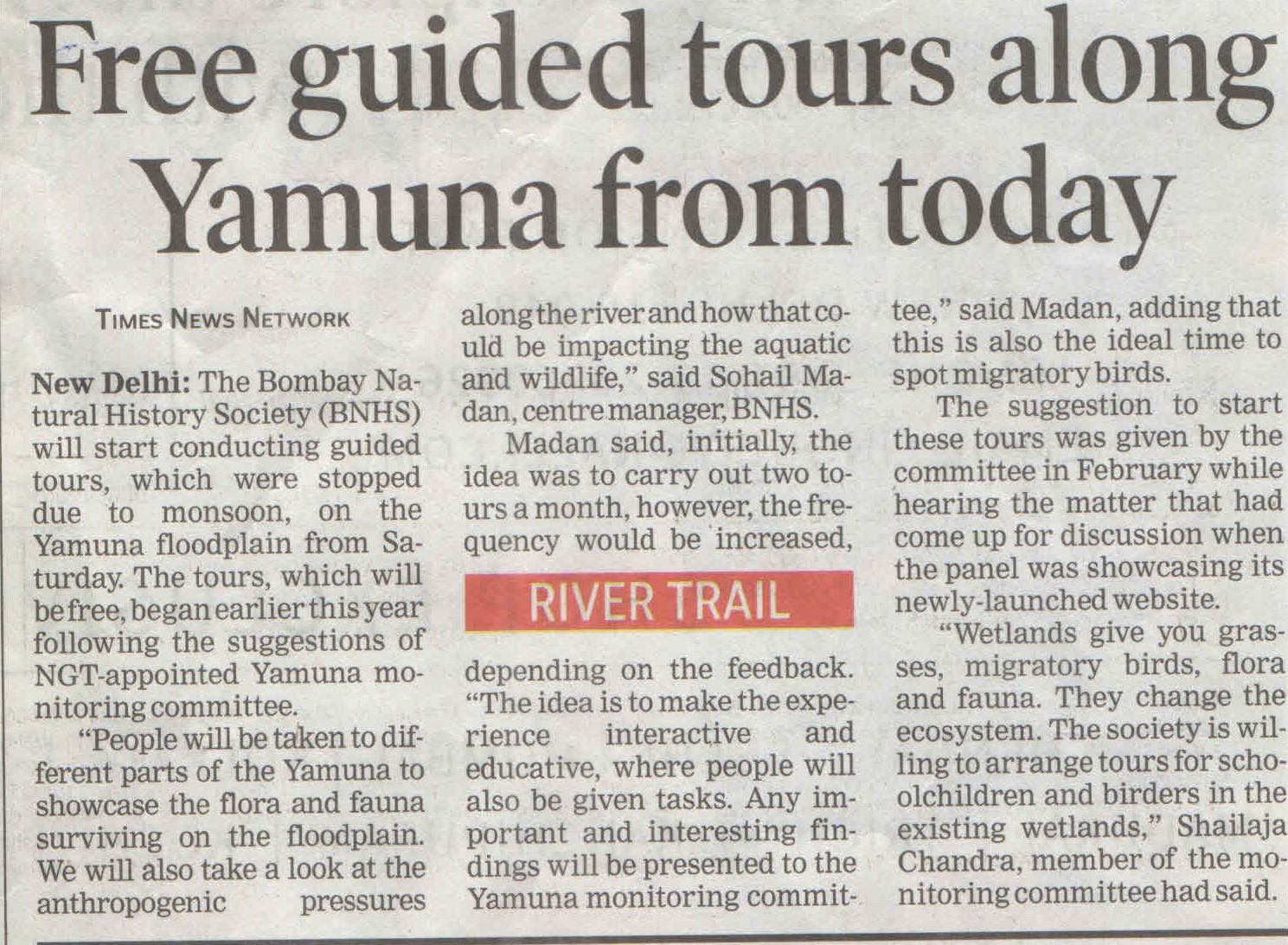 Free guided tours along Yamuna from today