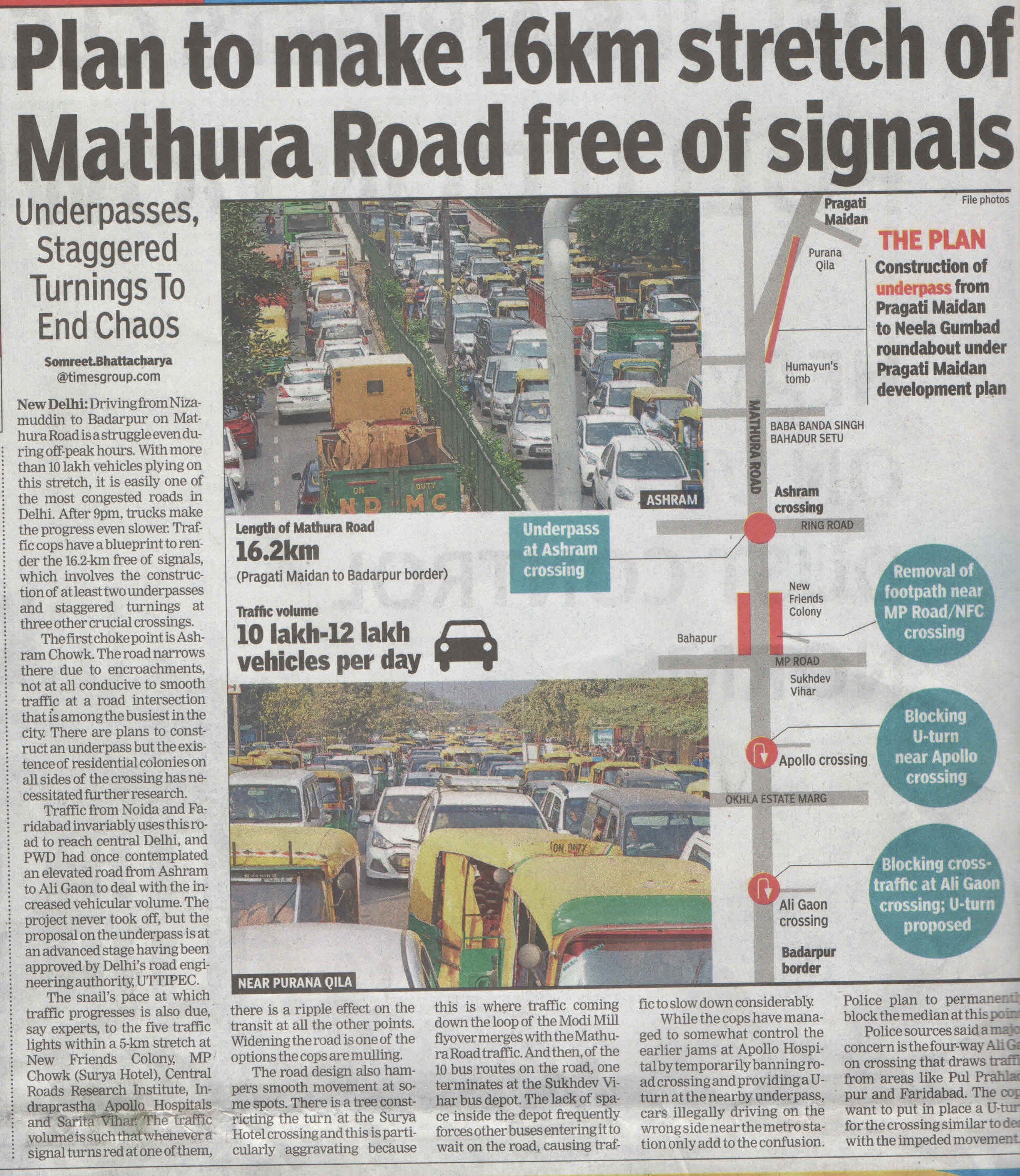 Plan to make 16 Km stretch of Mathura Road free of signals