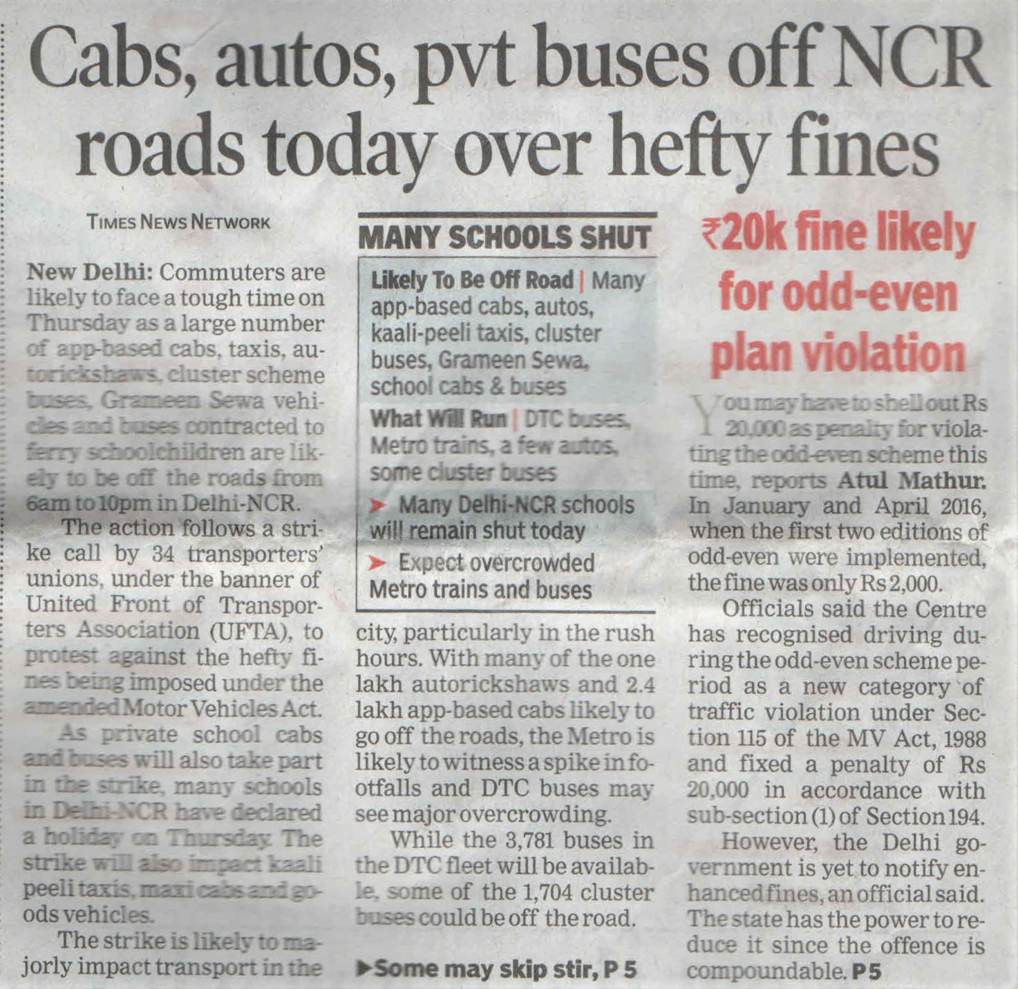 Cabs, autos, pvt buses off NCR roads today over hefty fines