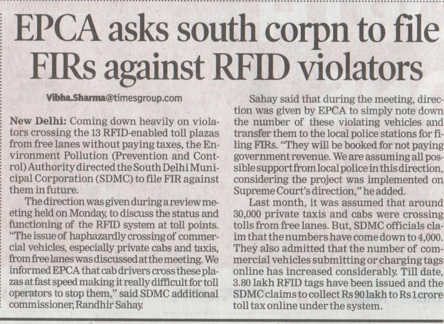 EPCA asks south corpn to file FIRs against RFID violators