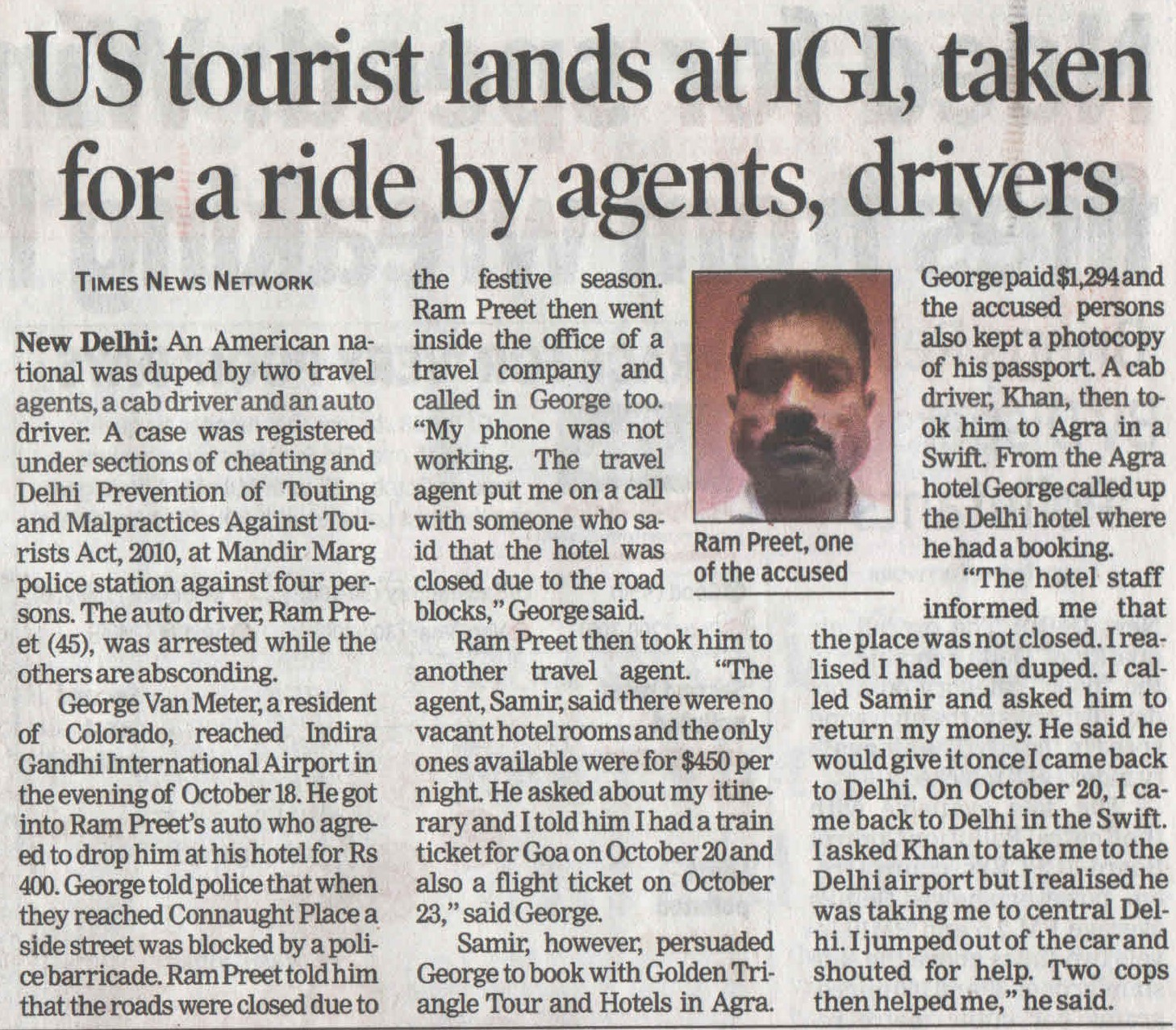 US Tourist lands at IGI, taken for a ride by agents, drivers