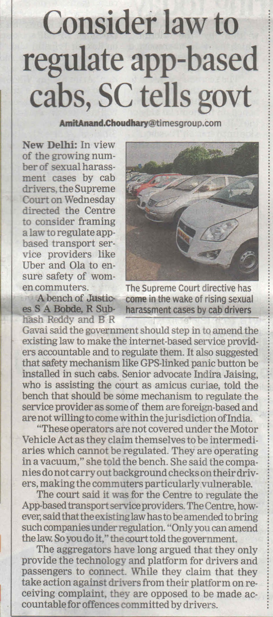 SC tells government to make law for app based cabs