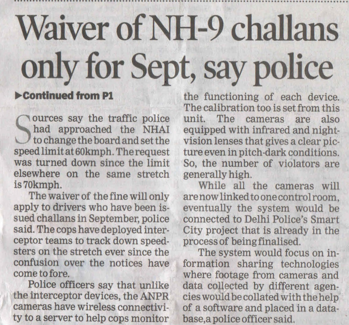 Waiver of NH-9 challans only for Sept. say police