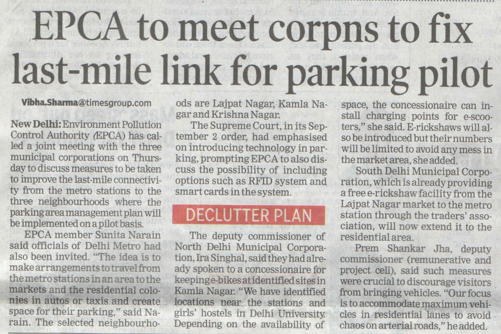 EPCA to meet corpns to fix last mile link for parking pilot