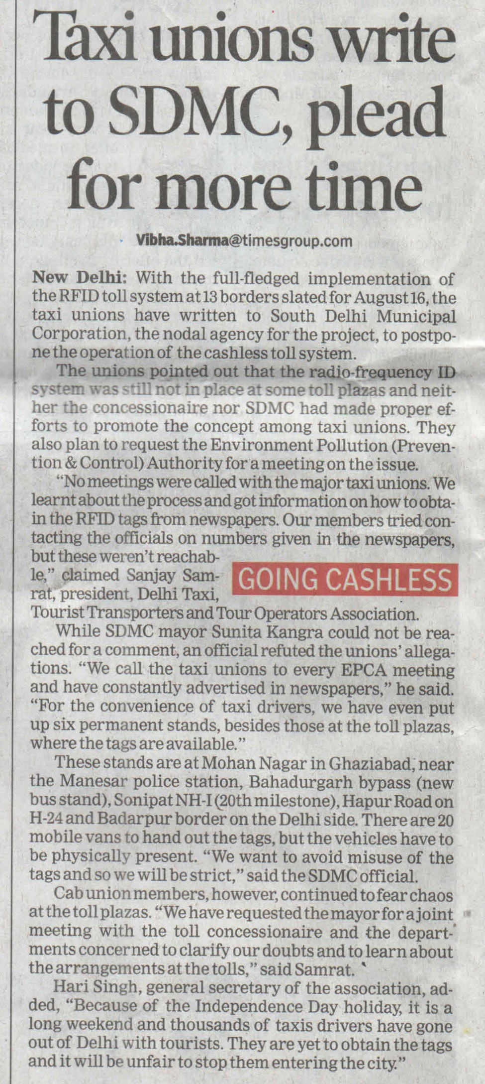 Taxi Union write to SDMC  reg. RFID