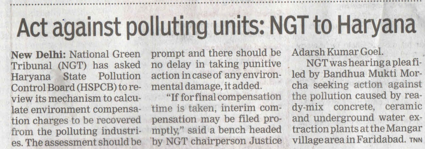 NGT Asks to act Against Haryana Polluting Units