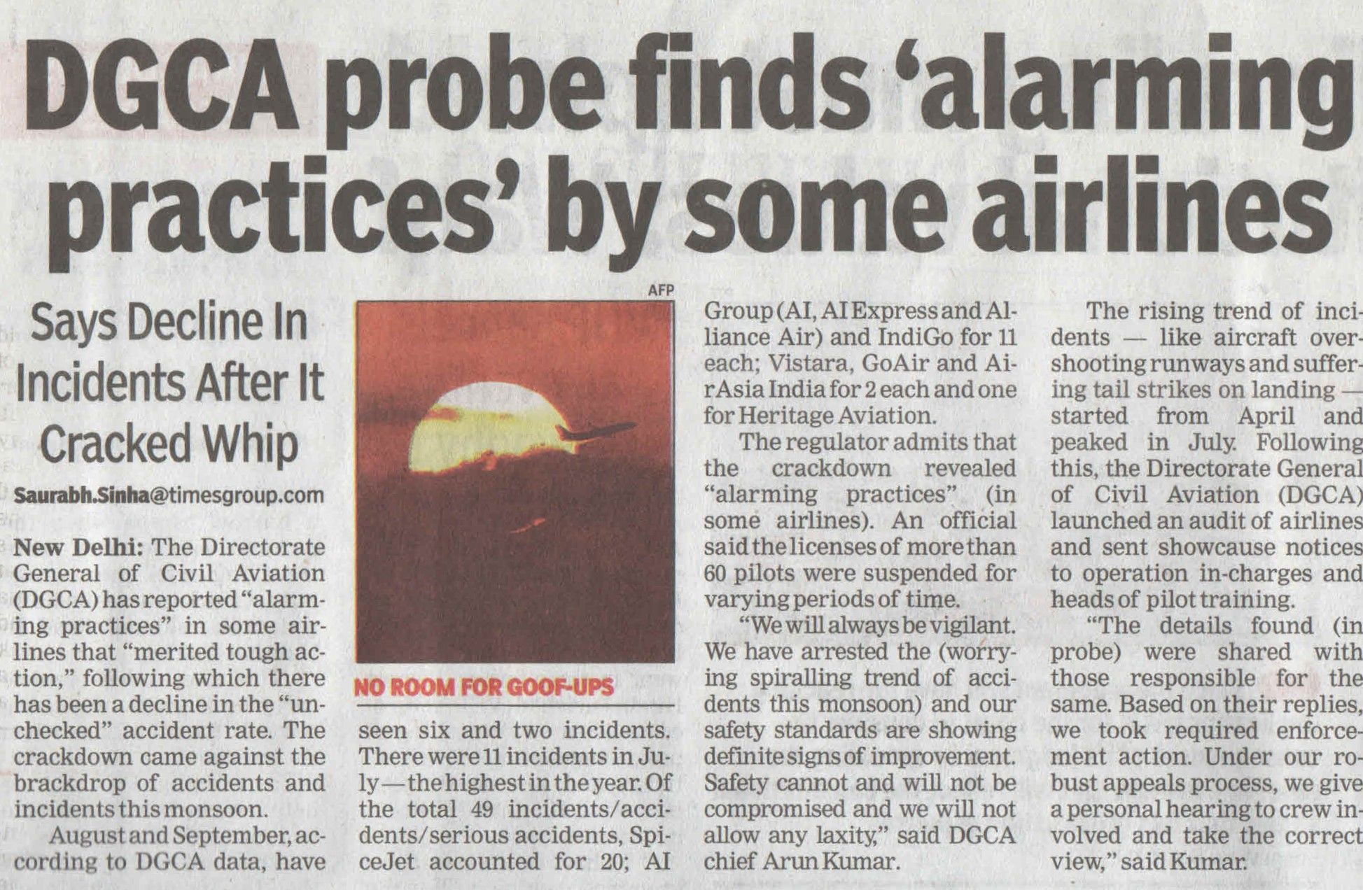 DGCA probe finds 'alarming practices' by some airlines