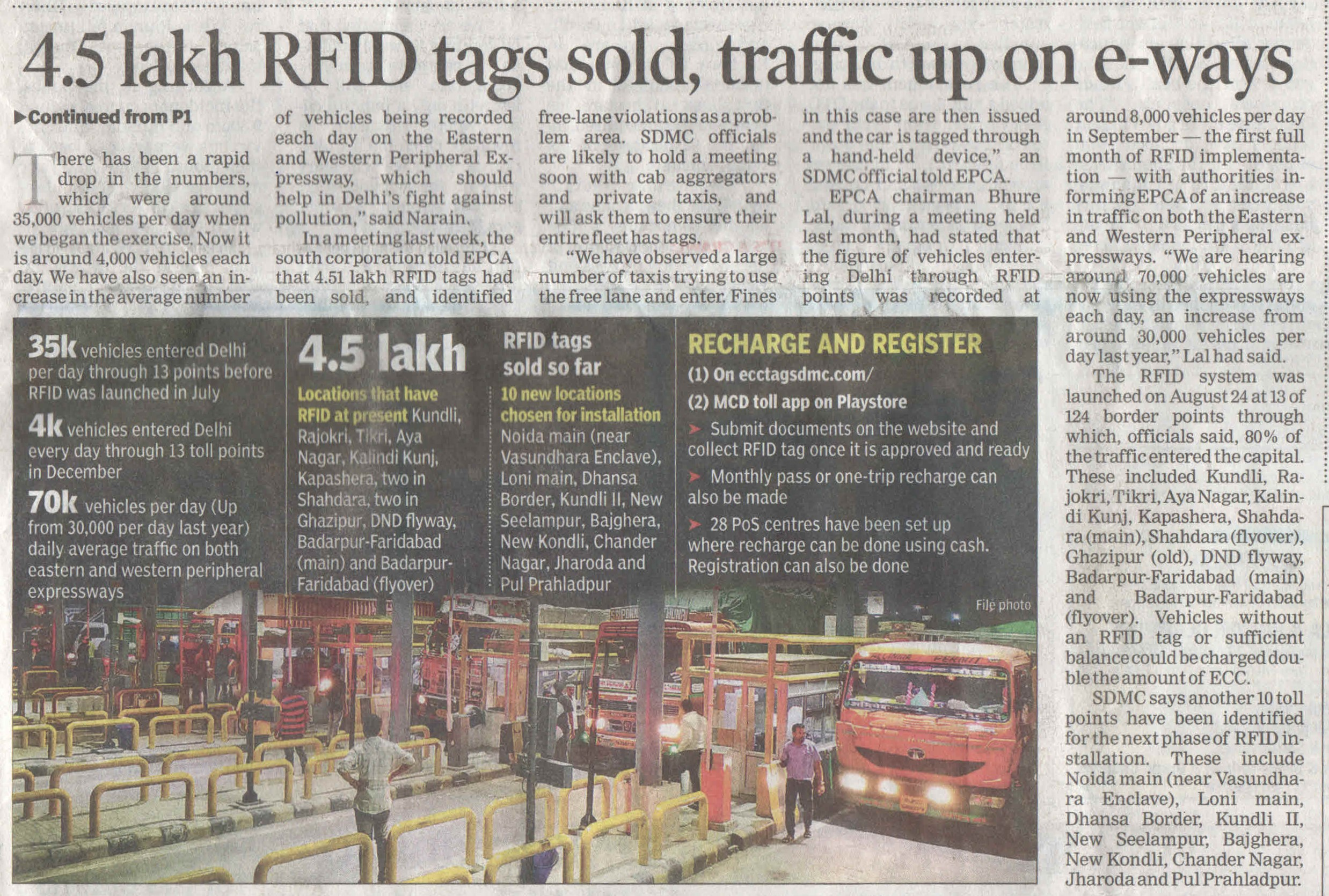 4.5 Lakh RFID tags sold, traffic up on e-ways