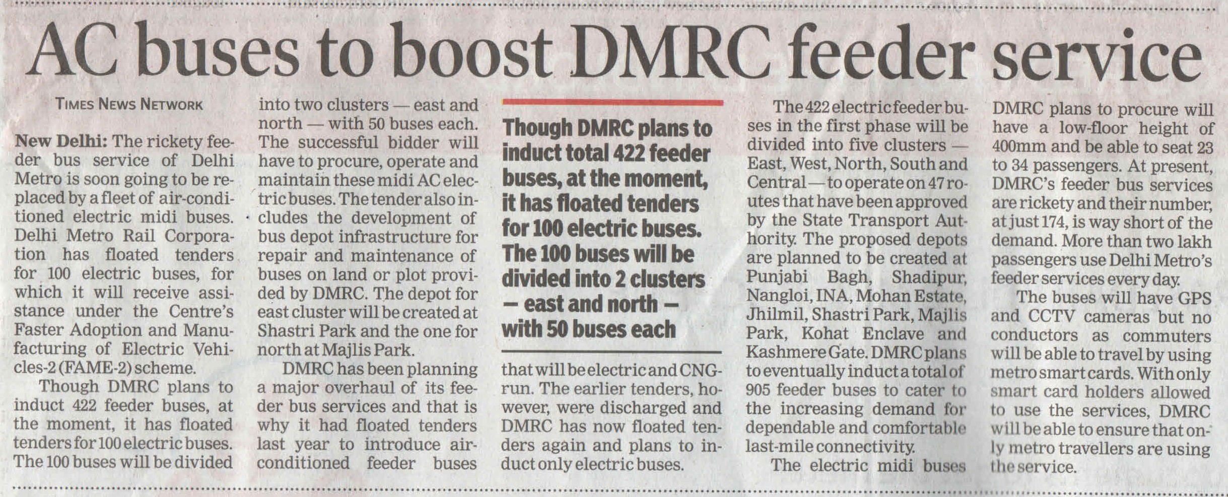 AC buses to boost DMRC feeder service