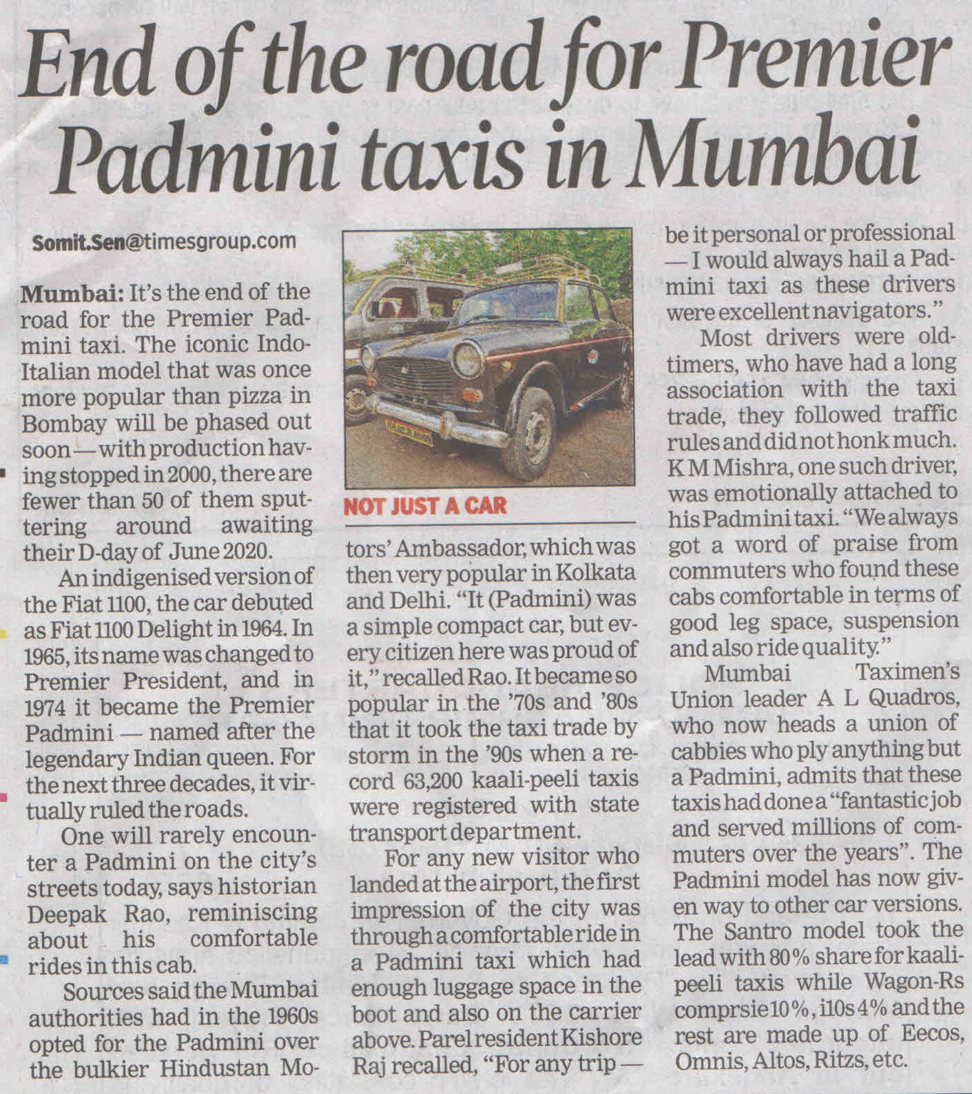 End of th4e road for Premier Padmini taxis in Mumbai
