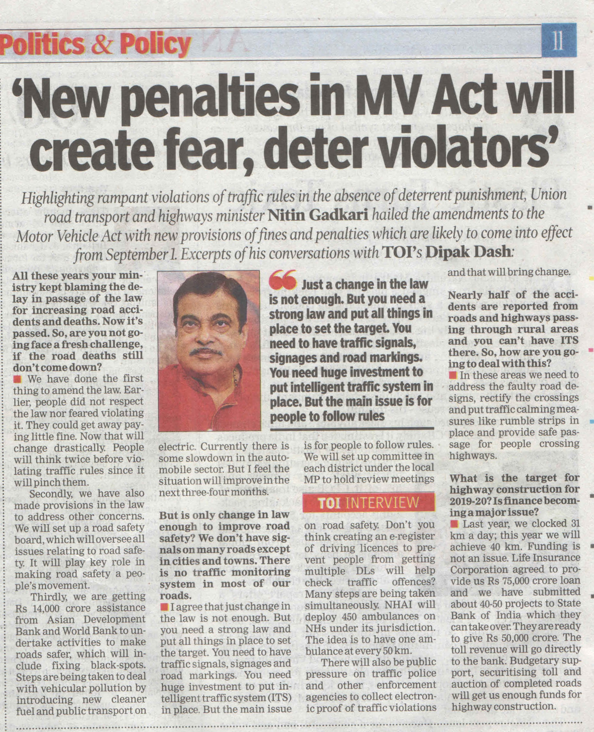 New Penalties in MV Act will create fear, deter violators