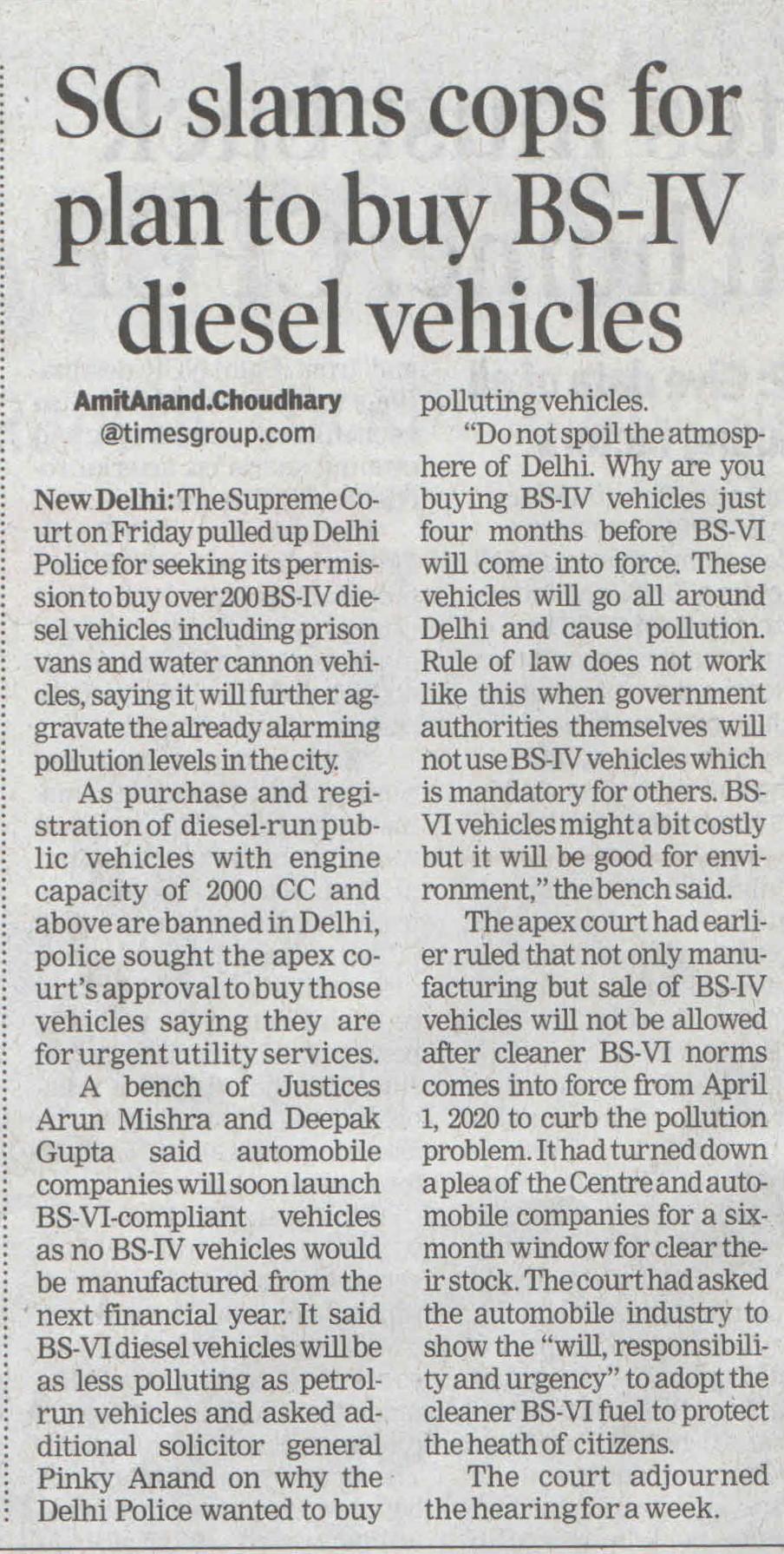 SC slams cops for plan to buy BS-IV DIESEL VEHICLES