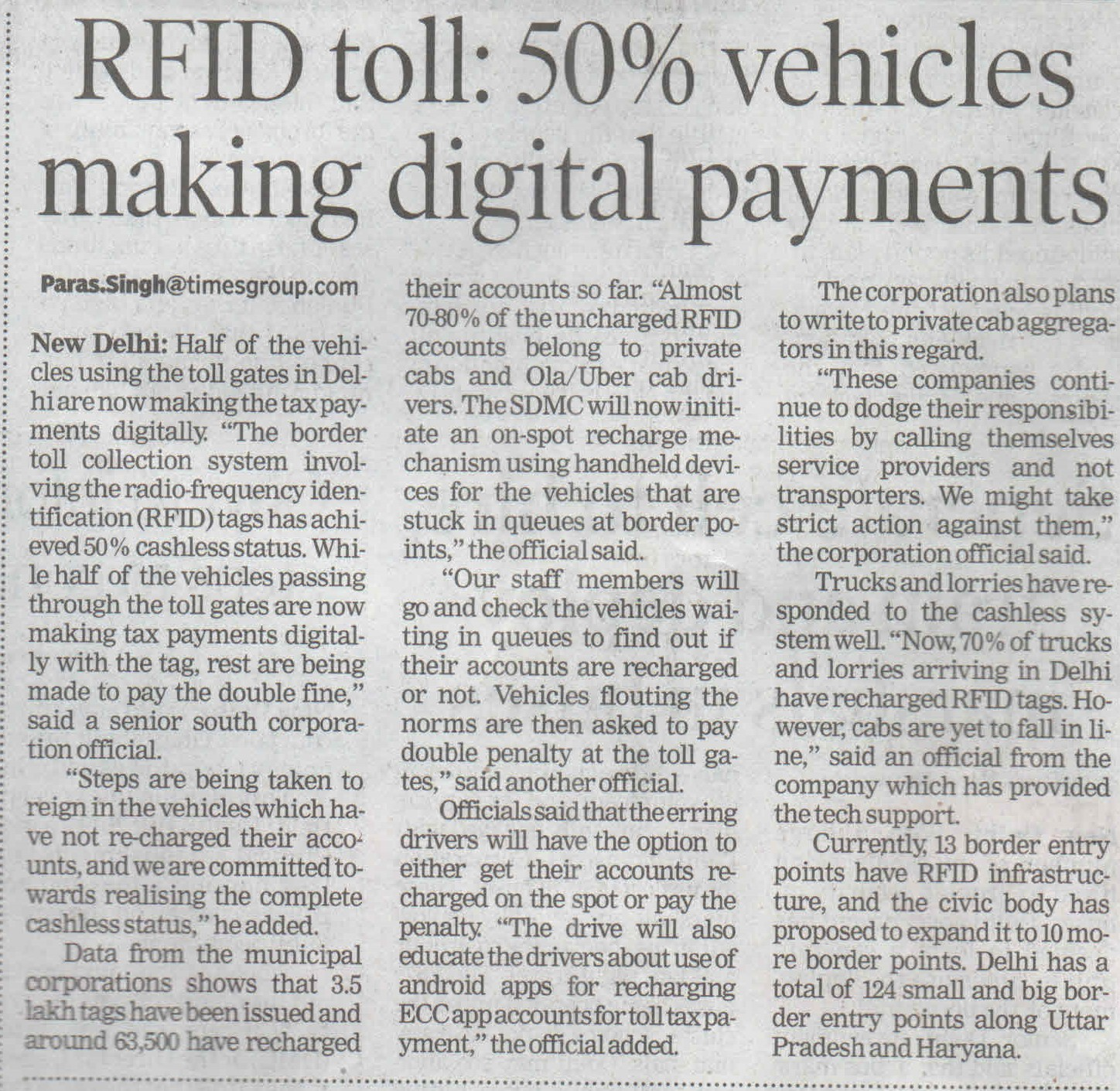 RFID toll: 50% vehicles making digital payments