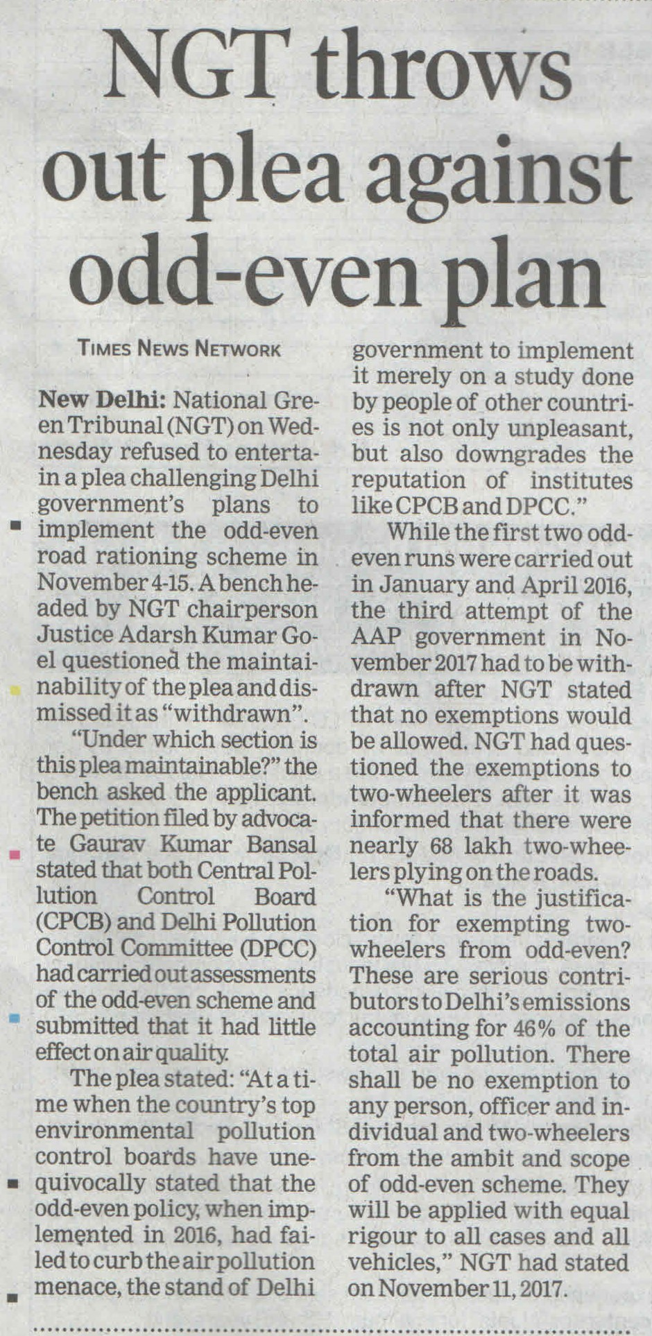 NGT throws out plea against odd-even plan