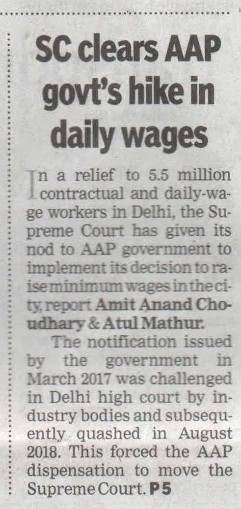 SC clears AAP govt's hike in daily wages