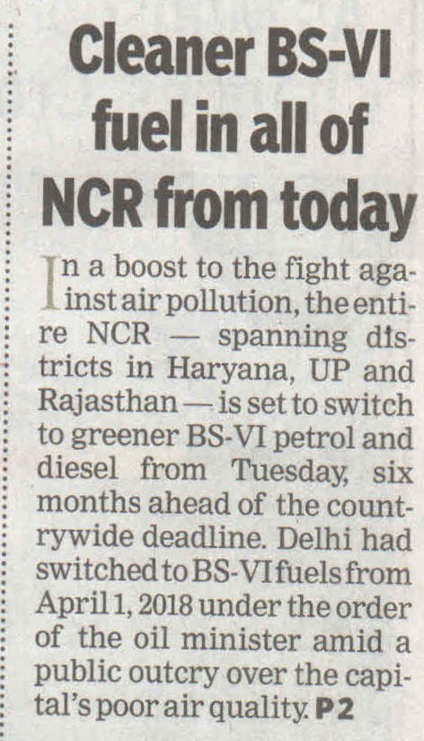 Cleaner BS-VI fuel in all of NCR from today