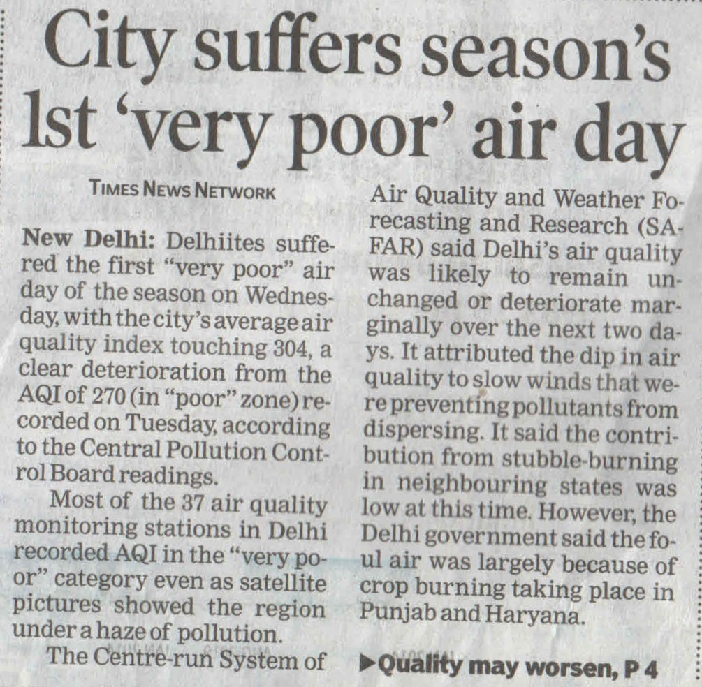 City suffers season's 1st 'very poor' air day