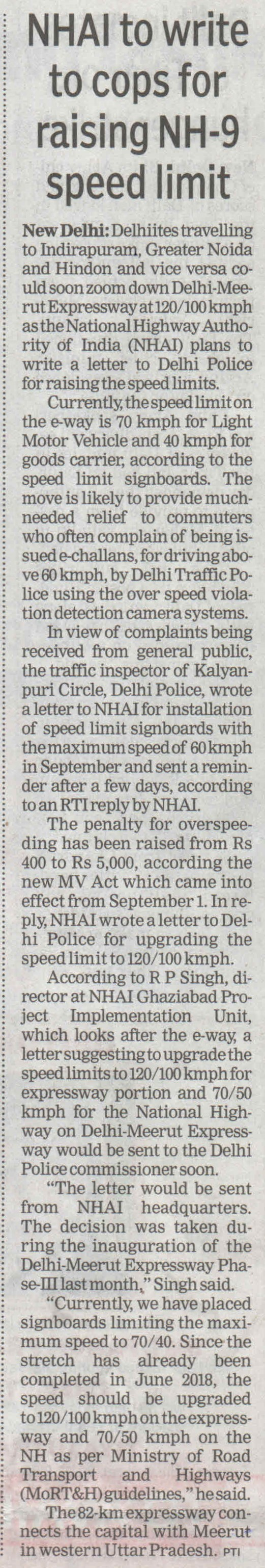 NHAI to write to cops for raising NH-9 speed limit