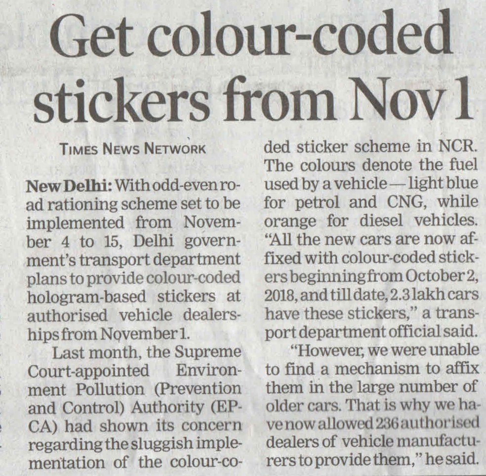 Get colourcoded stickers from Nov 1