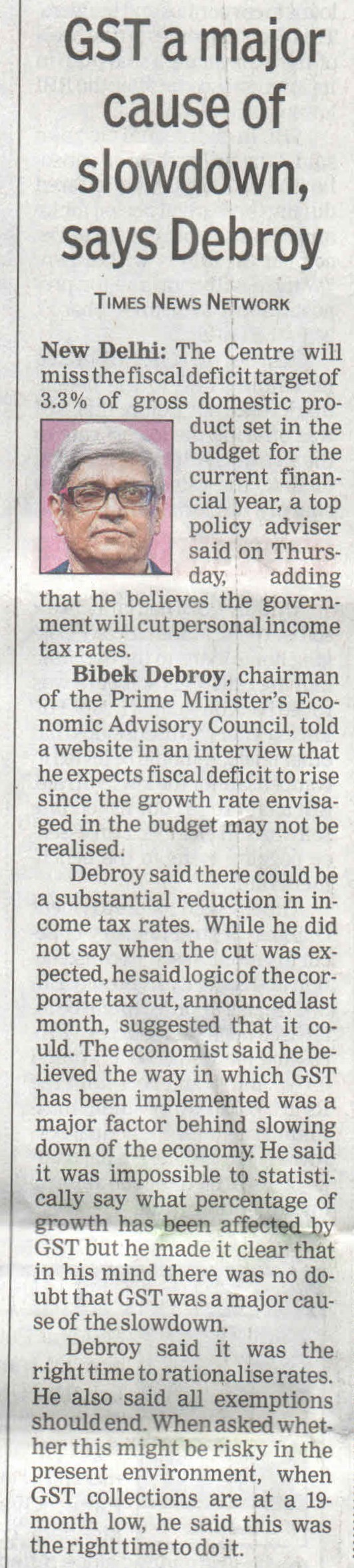 GST a major cause of slowdown, says debroy