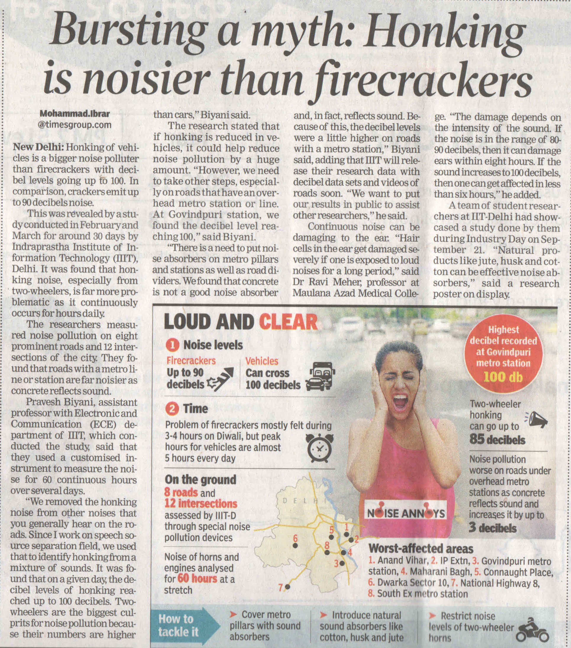 Bursting a myth: Honking is noisier than firecrackers