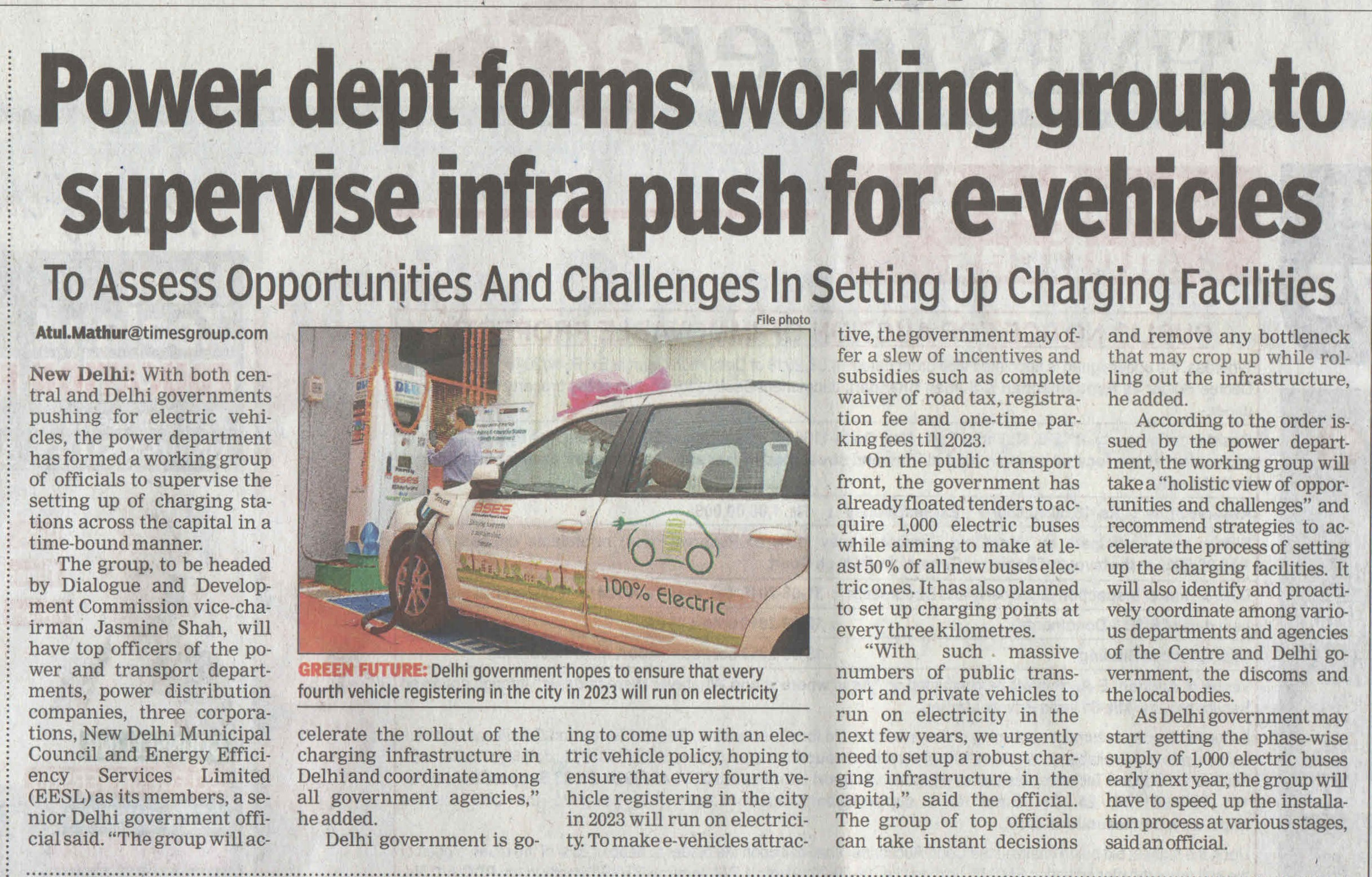 Power Det. forms working group to supervise infra push for e-vehicles